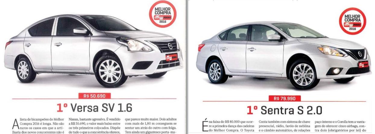 """Nissan Versa e Sentra são eleitos """"Melhor Compra 2016"""" por revista especializada"""