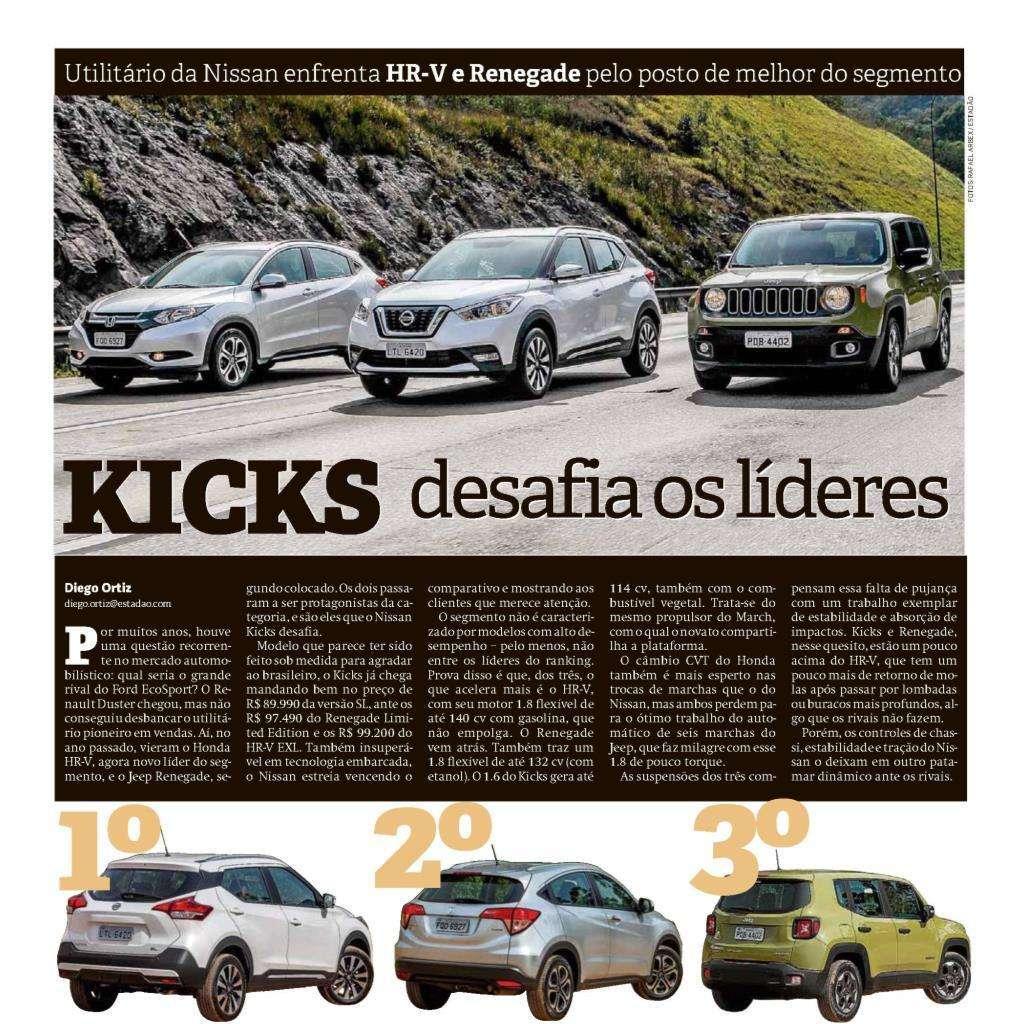 Nissan Kicks chega desafiando rivais e é destaque na imprensa nacional