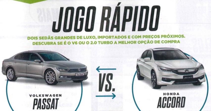 Volkswagen Passat X Honda Accord: saiba qual sedan de luxo escolher