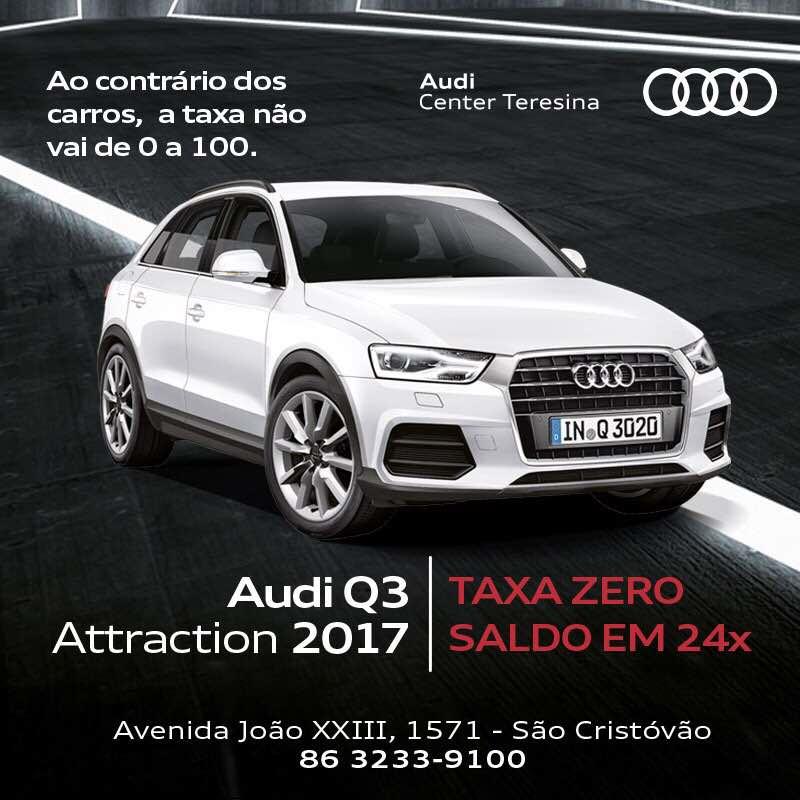 Condição inigualavel: Audi A3 Sedan e Q3 2017 disponíveis com taxa 0% em 24 meses