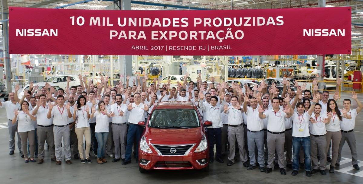 Fábrica da Nissan no Brasil atinge marca de 10 mil unidades exportadas