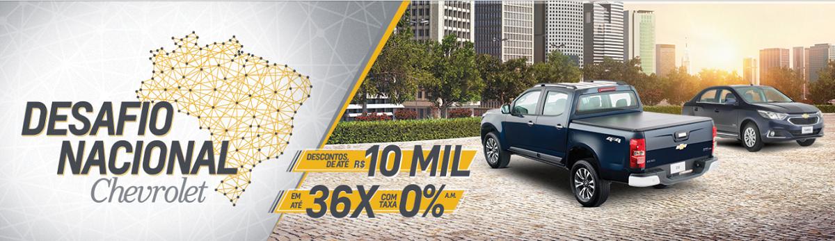 Melhores ofertas no Desafio Nacional Chevrolet: descontos de até R$ 10.000,00 e taxa 0% em até 36x