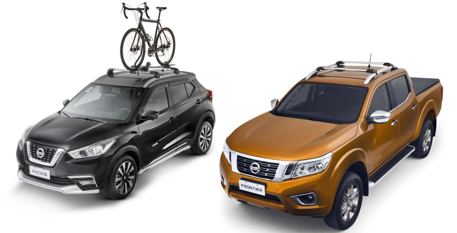 Nissan Kicks e Frontier trazem novos acessórios: rack de teto, bagageiro e suporte de bike