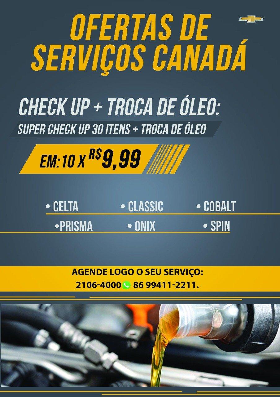 Canadá Veículos realiza check-up do seu Chevrolet em 10 vezes de R$ 9,99; aproveite!