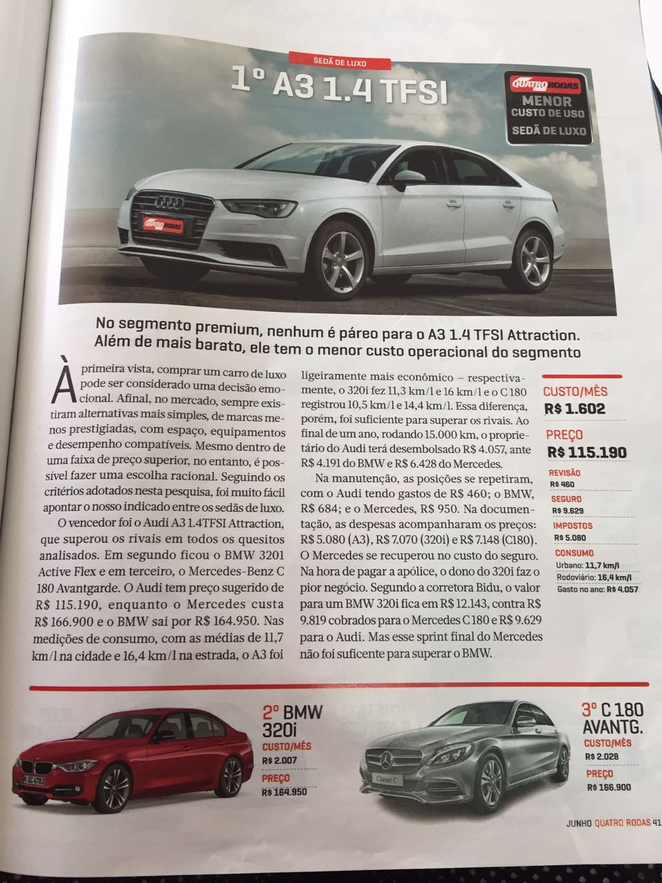 Audi A3 Sedan é apontado como automóvel Premium com o menor custo de uso