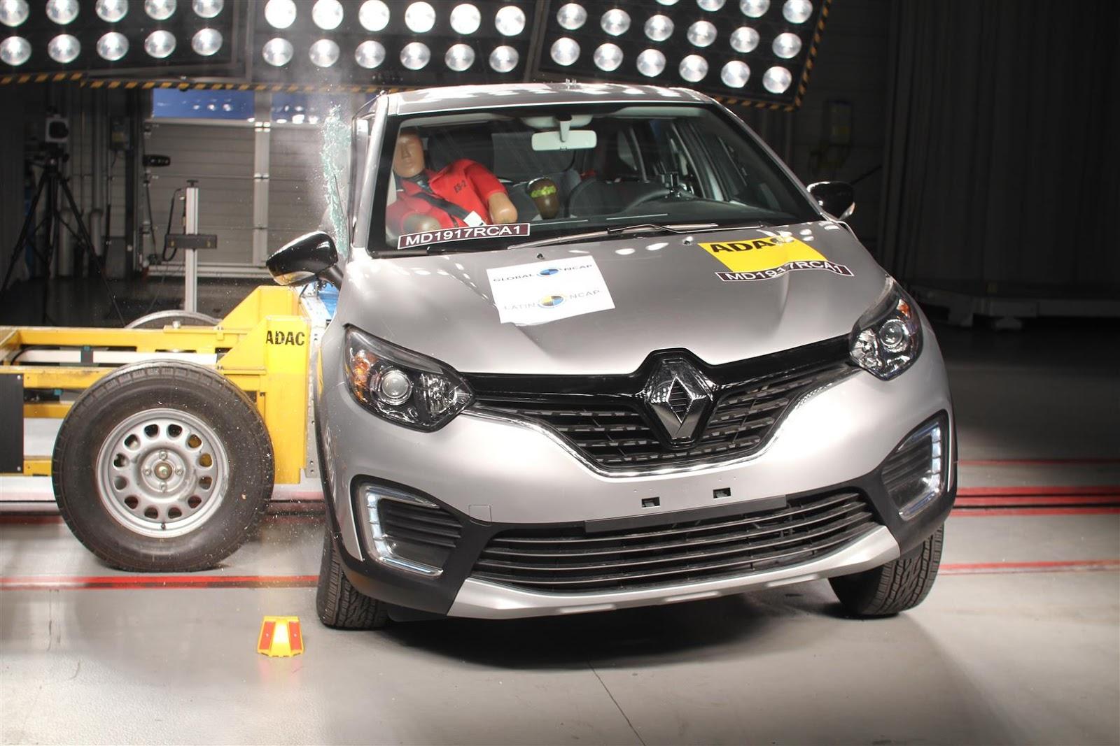 Renault Captur, com pacote abrangente de segurança, obtém 4 estrelas em colisões frontais e laterais