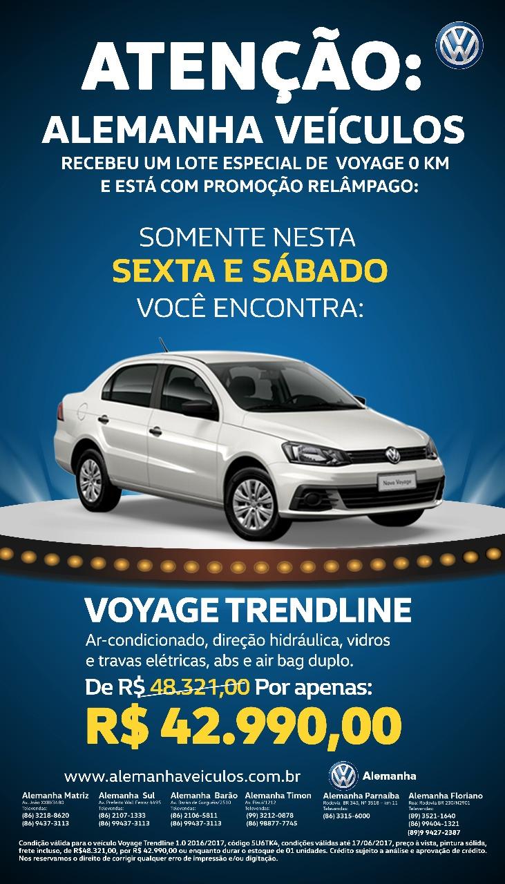 Só nesta sexta e sábado: aproveite o lote especial do Volkswagen Voyage completo por R$ 42.990
