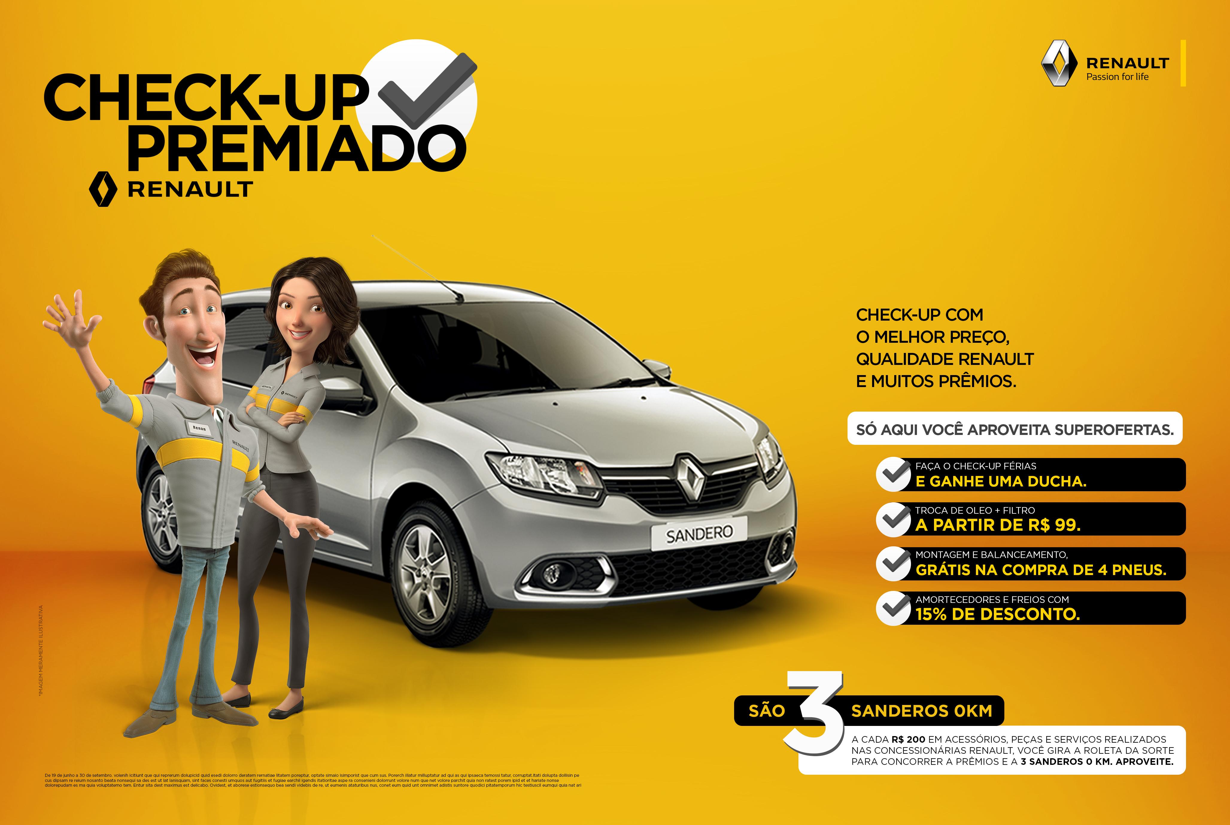 Check-Up Premiado Renault sorteia prêmios em dinheiro e três Sandero 2018: aproveite!
