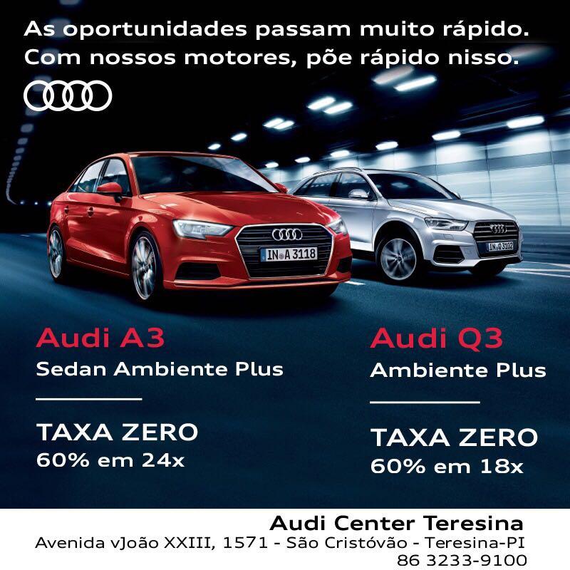 Só neste mês, você garante seu Audi A3 ou Q3 Ambiente Plus com taxa zero: aproveite!