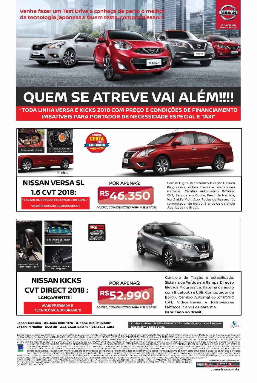 Linha Nissan Versa e Kicks 2018 com facilidades para taxistas e pessoas com necessidades especiais: confira!