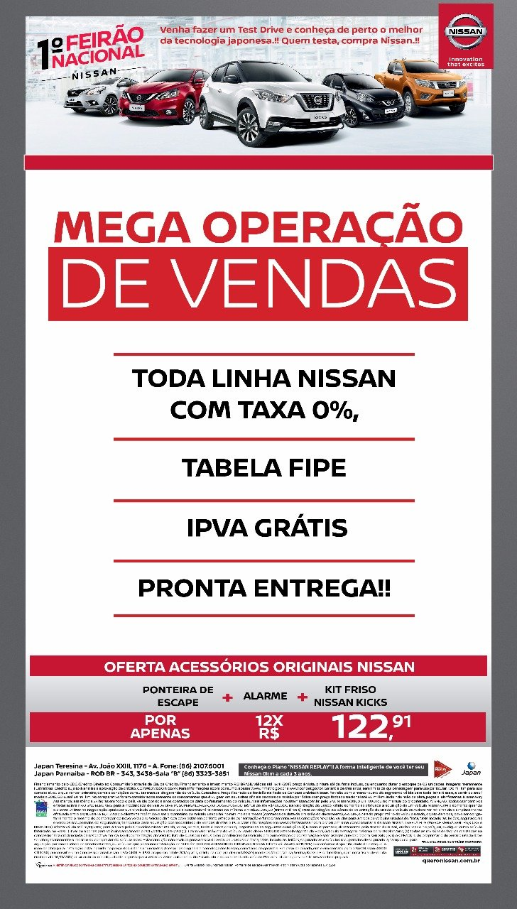 Mega Operação de Vendas Nissan: toda linha com taxa 0%, IPVA grátis e tabela FIPE no seu usado!