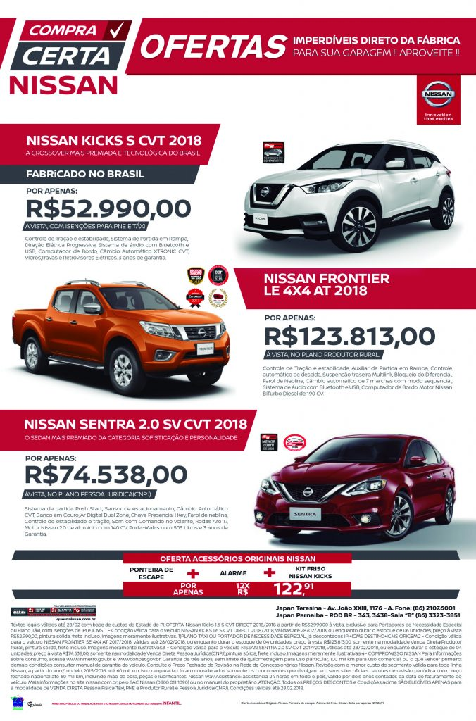 Compra Certa Nissan: aproveite as condições especiais para Vendas Diretas na Japan Veículos!