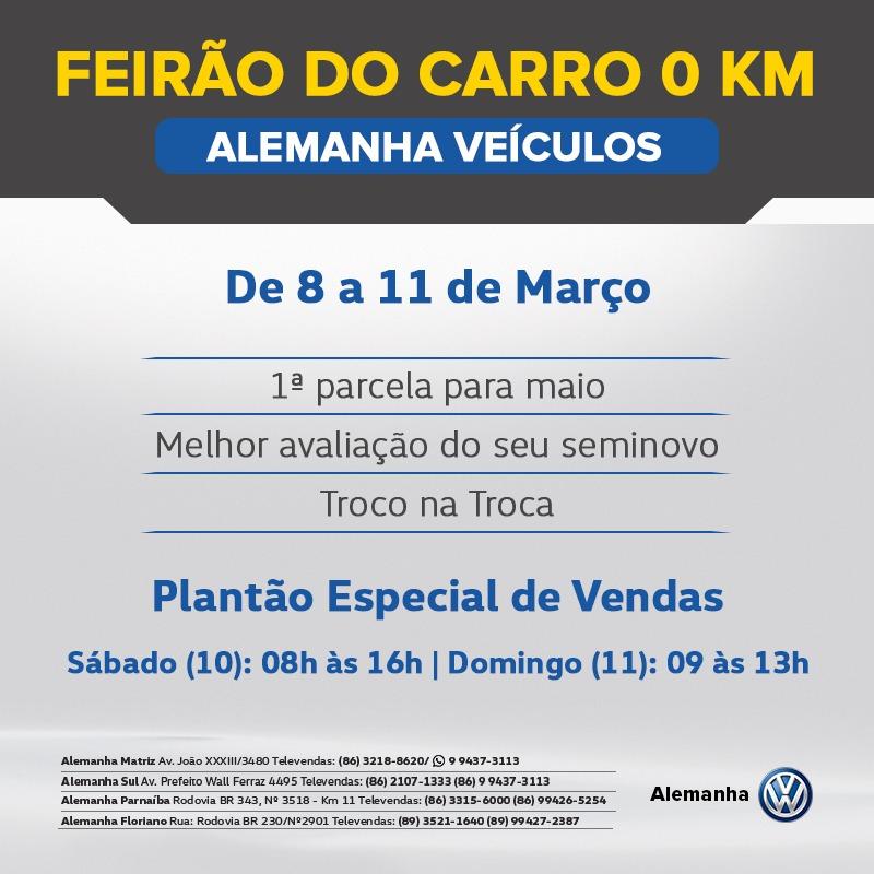 Só neste Sábado e Domingo: Alemanha Veículos realiza Feirão do Carro 0km, com melhores condições do mercado!