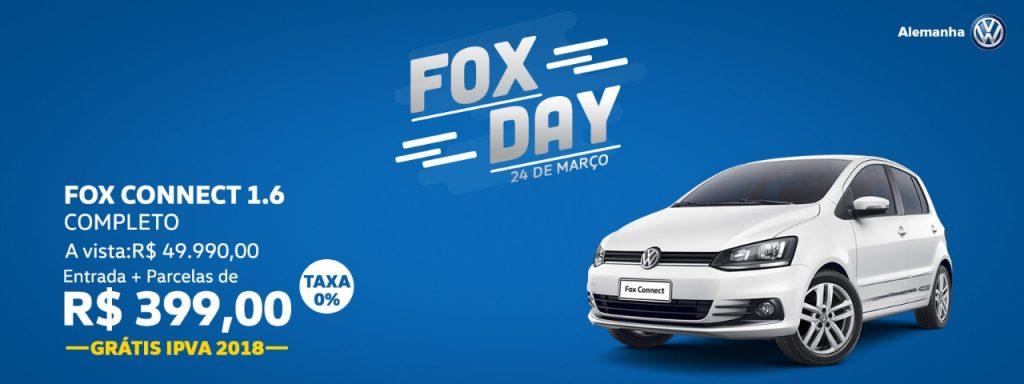 VW Fox Day: neste sábado, você adquire seu Fox com as melhores condições na Alemanha Veículos!