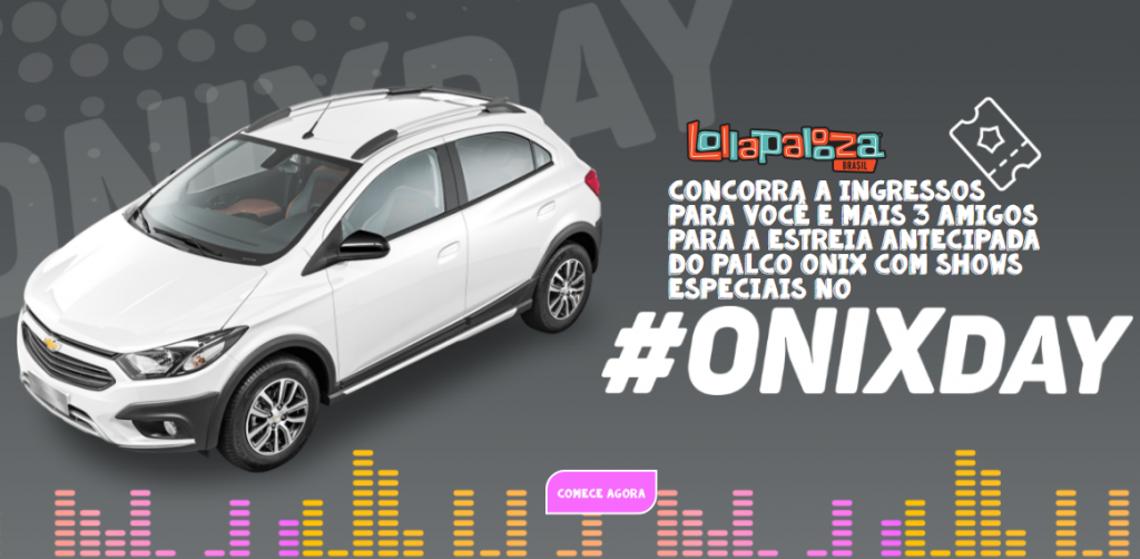 Chevrolet faz sorteio exclusivo para donos de Onix: mais de 50 mil ingressos para o Lollapalooza!