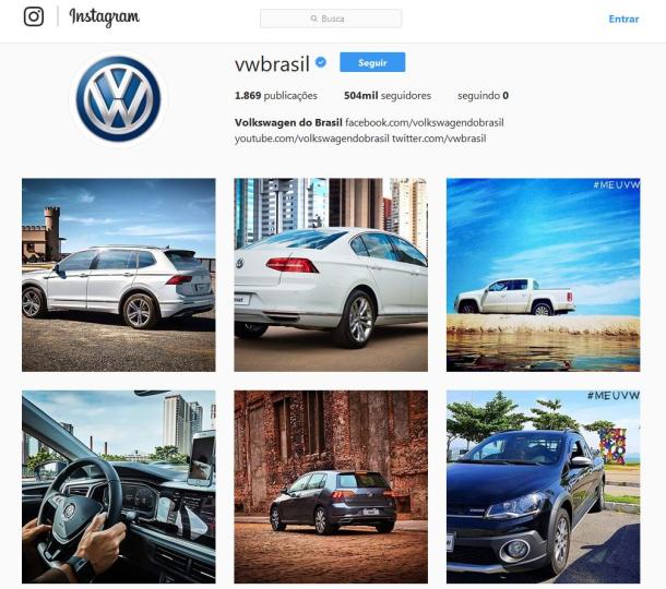 Volkswagen do Brasil é primeira marca de carros a ter 500 mil seguidores no Instagram