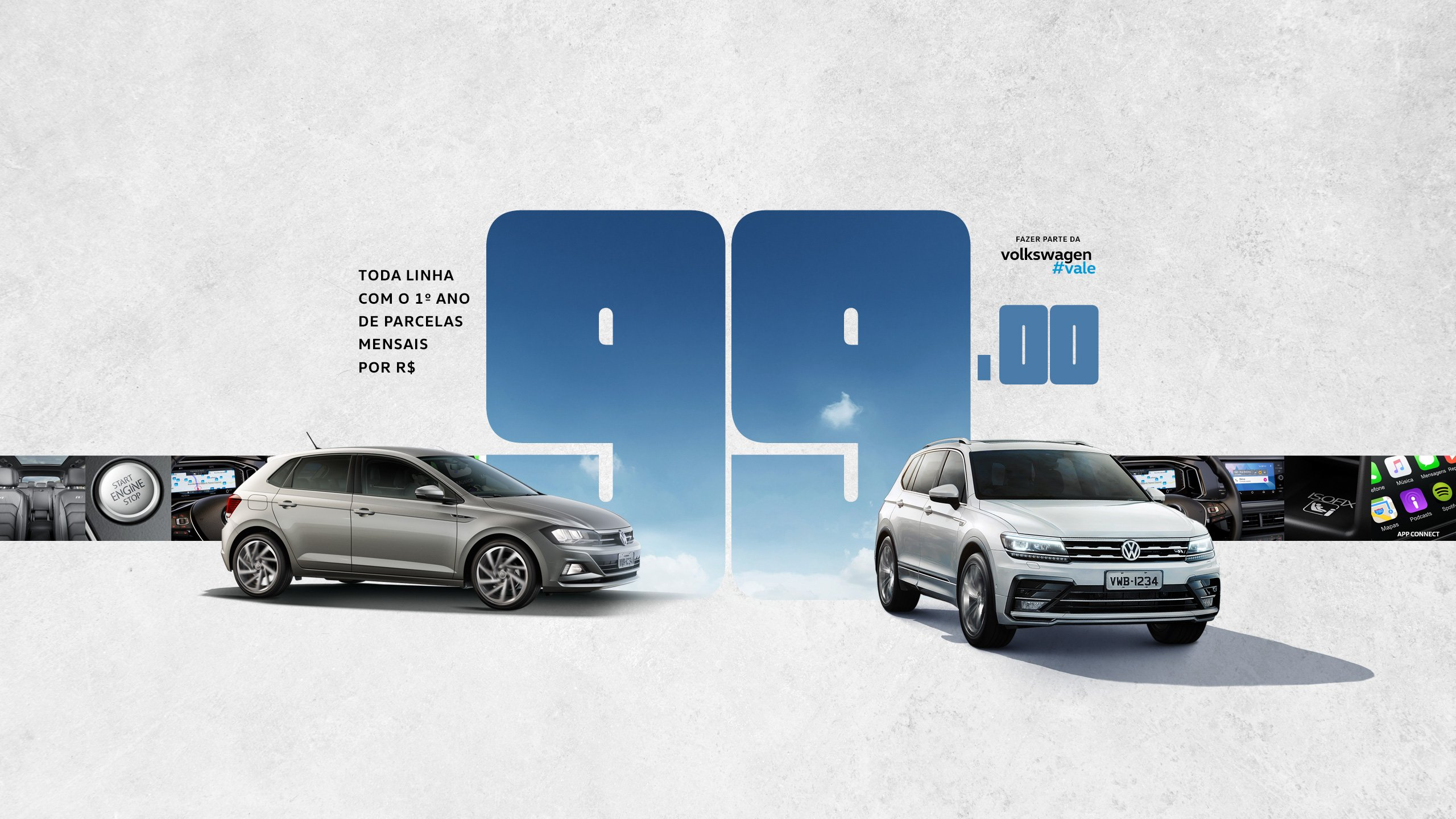 Volkswagen volta a ofertar toda a linha com parcelas de apenas R$ 99 no primeiro ano
