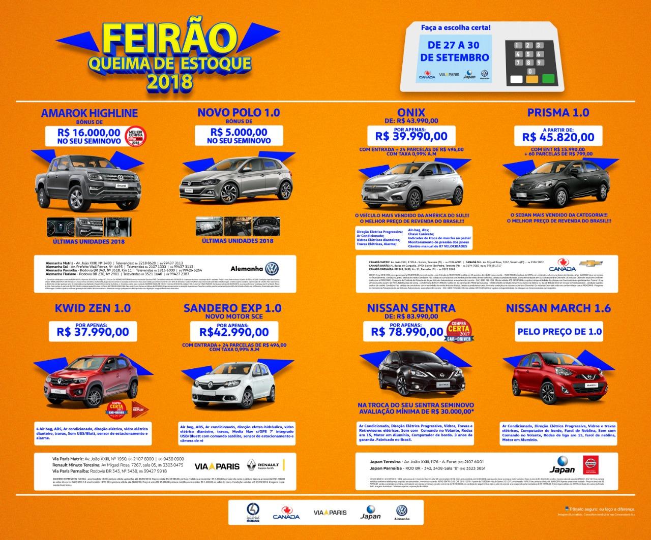 Feirão Queima de Estoque 2018: de 27 a 30/09, eleja um carro zero para sua garagem!