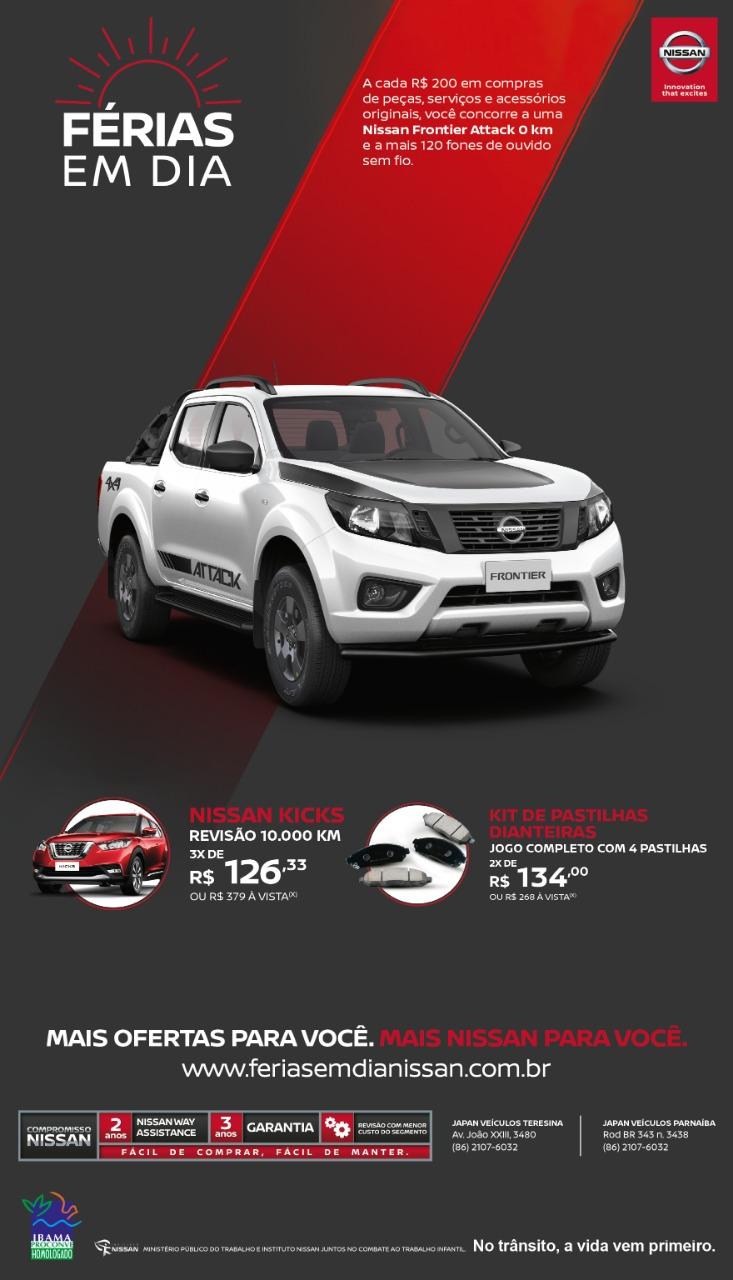 Férias em Dia Nissan: concorra a uma Frontier Attack 4×4 ao fazer revisão ou adquirir acessórios!
