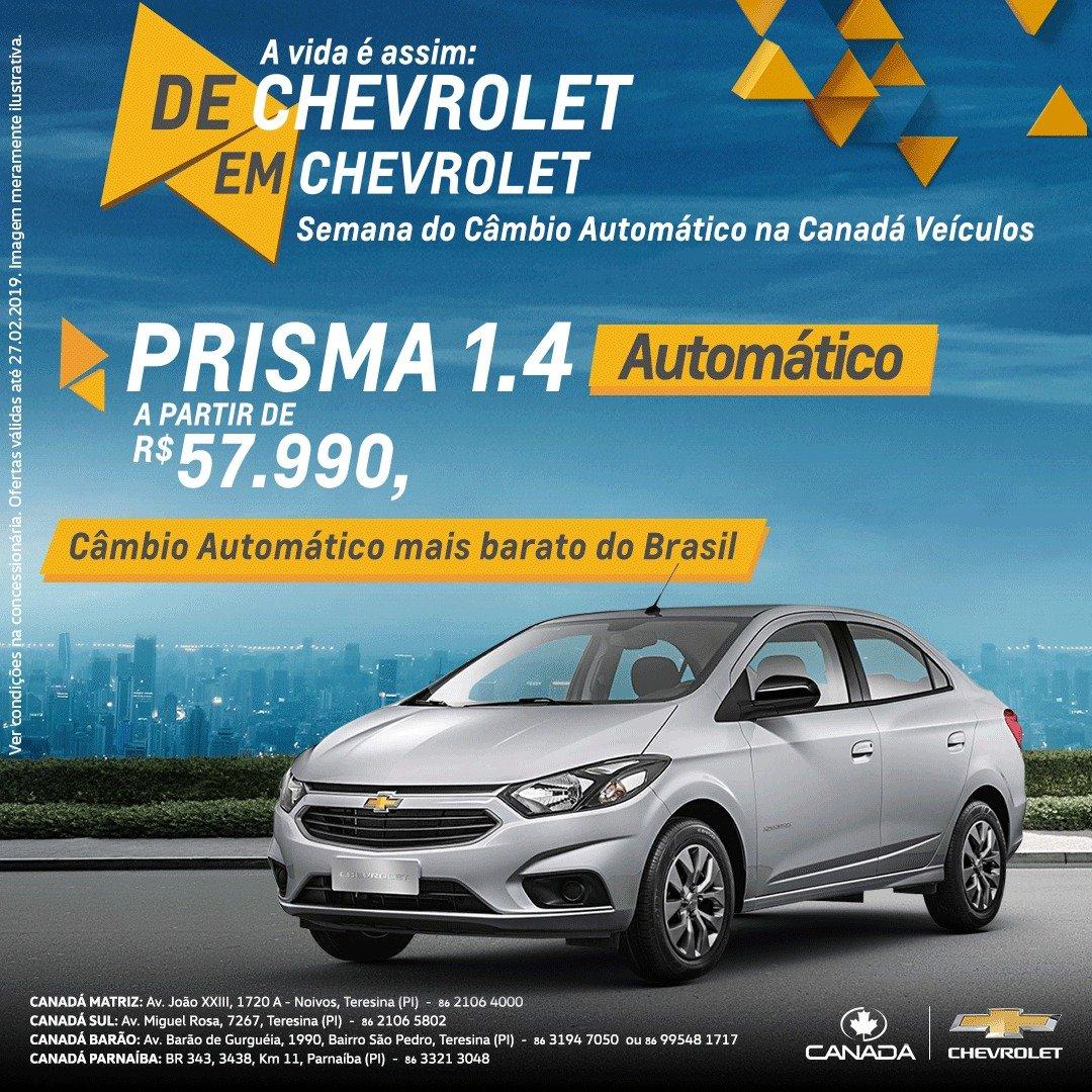 Semana do Câmbio Automático na Canadá Veículos! Garanta seu Chevrolet Onix ou Prisma automáticos com preços especiais