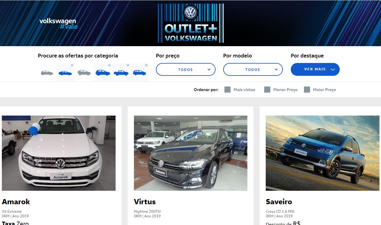 Outlet + Volkswagen: taxa zero para toda a linha e descontos de até R$ 10.000,00! Veja as ofertas