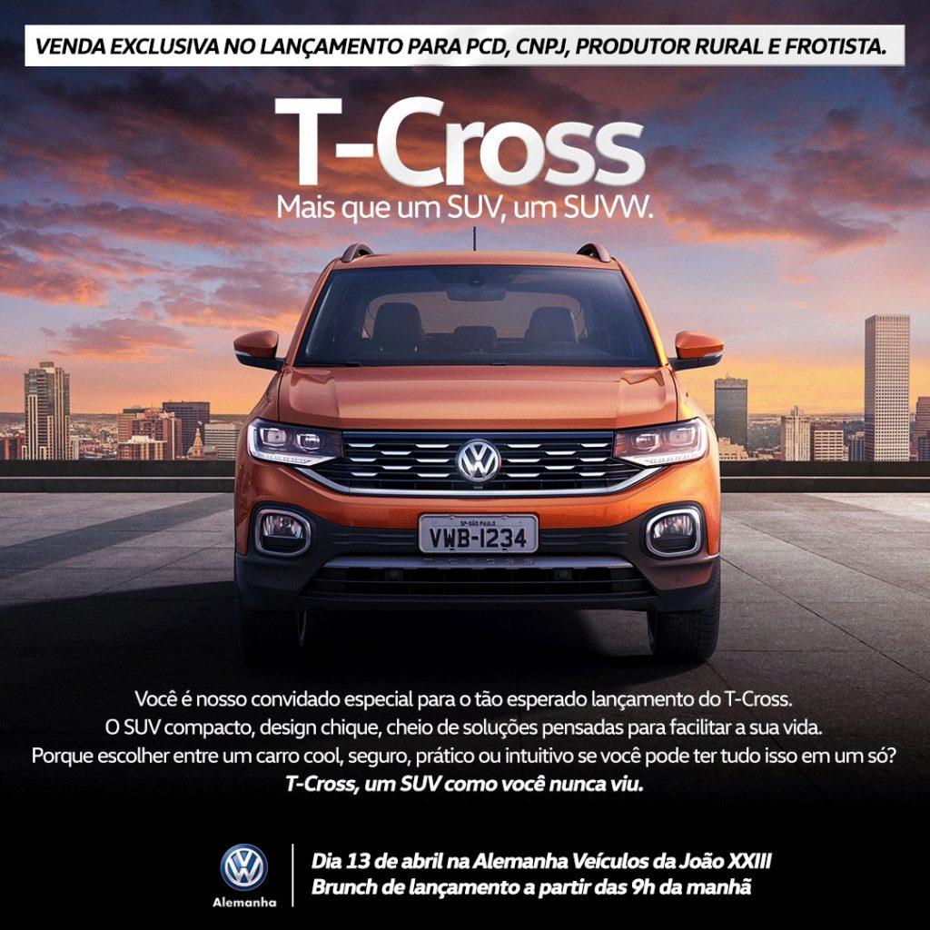Novo Volkswagen T-Cross terá brunch de lançamento neste sábado: você é nosso convidado!