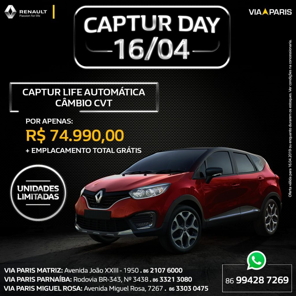 Captur Day: só hoje, venha garantir o SUV fashion da Renault com condições imperdíveis!