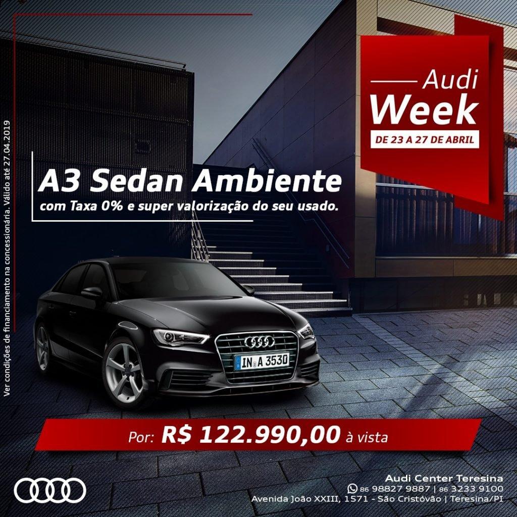 Audi Week: somente esta semana, A3 Sedan com taxa 0% e supervalorização do seu usado!