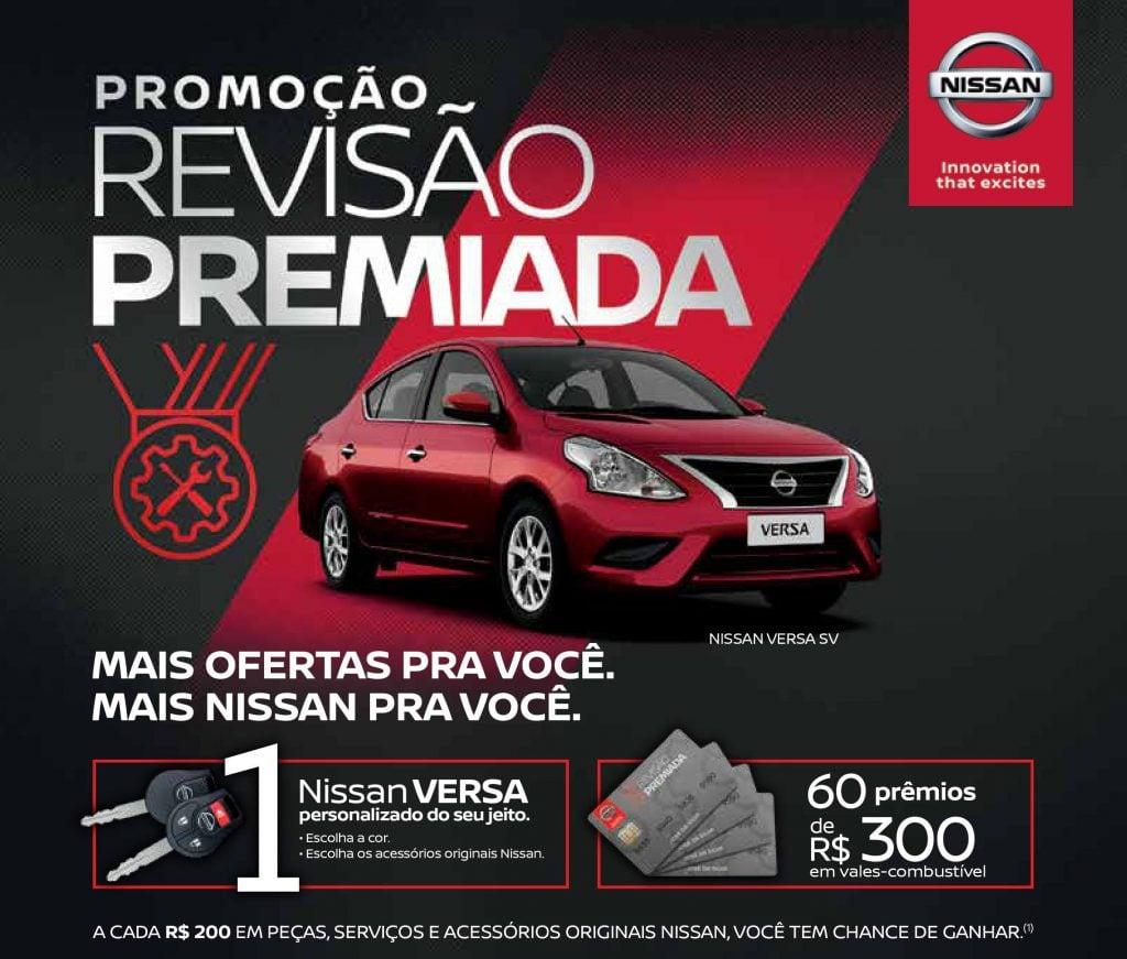Campanha Revisão Premiada Nissan sorteará um Versa zero-km e 60 vales-combustível