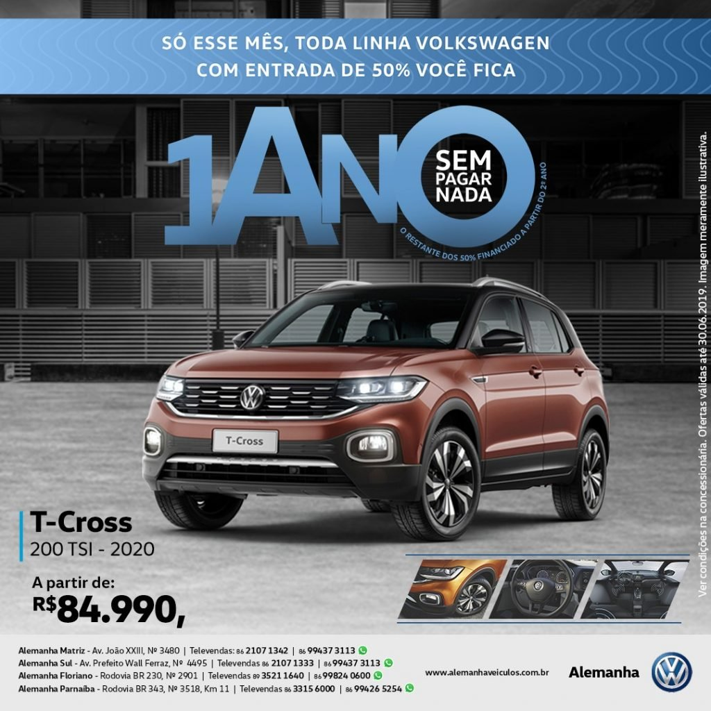 Só este mês, toda linha Volkswagen com 50% de entrada e 1 ano sem pagar nada! Confira as ofertas