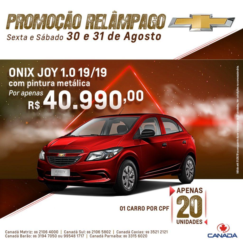 Promoção Relâmpago: garanta seu Chevrolet Onix com preço especial e pintura metálica inclusa!