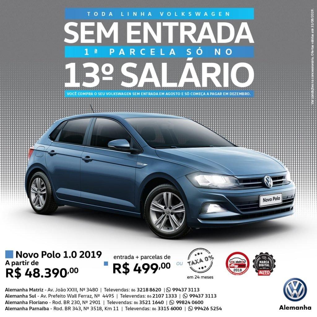 Toda linha Volkswagen sem entrada e com a primeira parcela só para o mês do 13º salário! Confira as ofertas