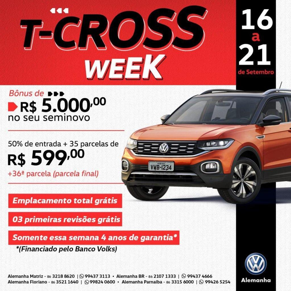 T-Cross Week: uma semana para garantir o SUV da Volkswagen em condições super especiais!