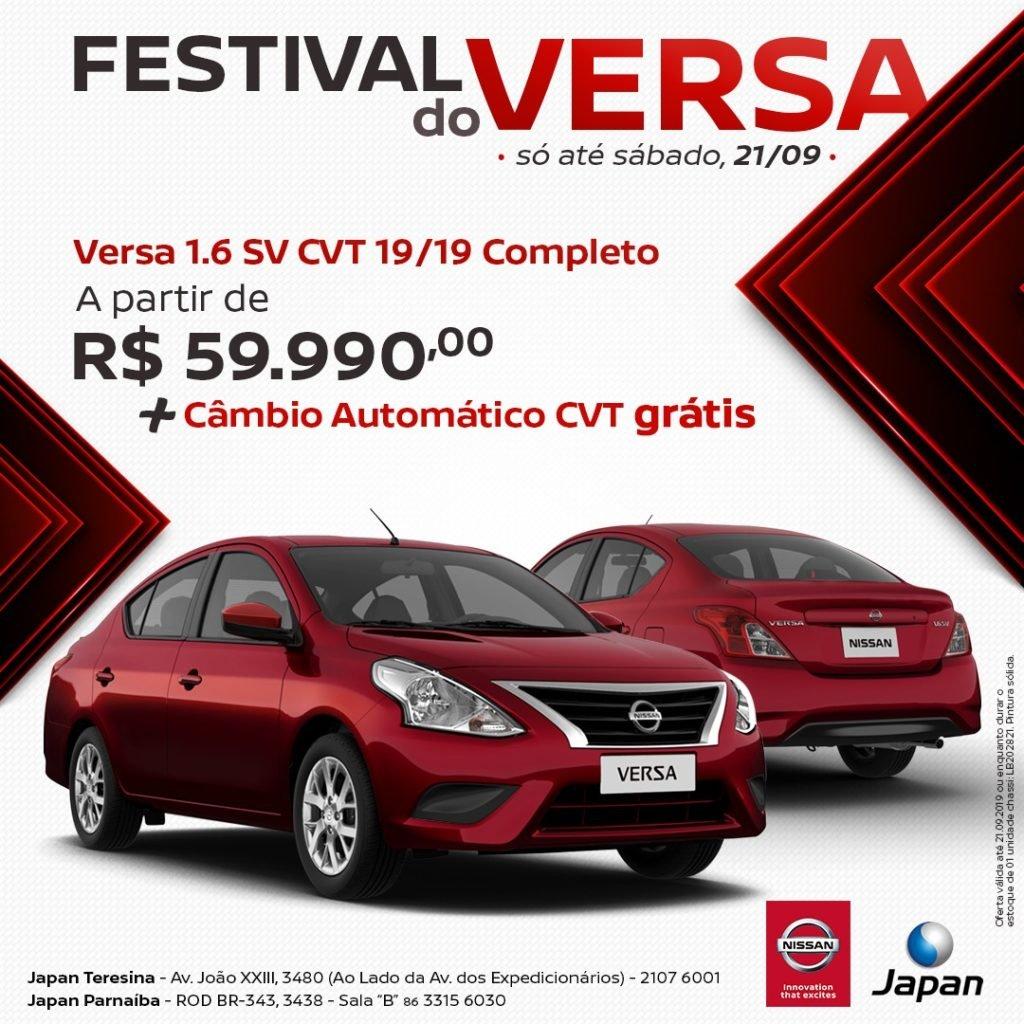 Festival do Versa na Japan Veículos: garanta o sedan da Nissan com câmbio automático grátis!