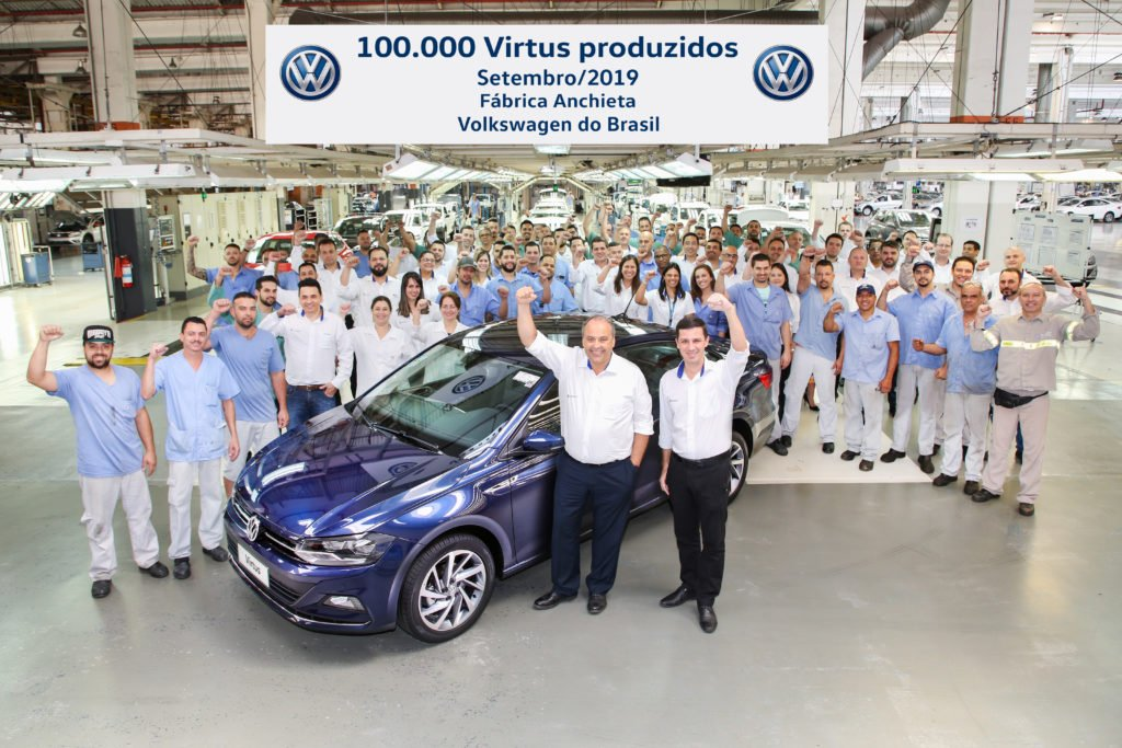 Volkswagen celebra o marco de 100 mil unidades do Virtus produzidas no Brasil
