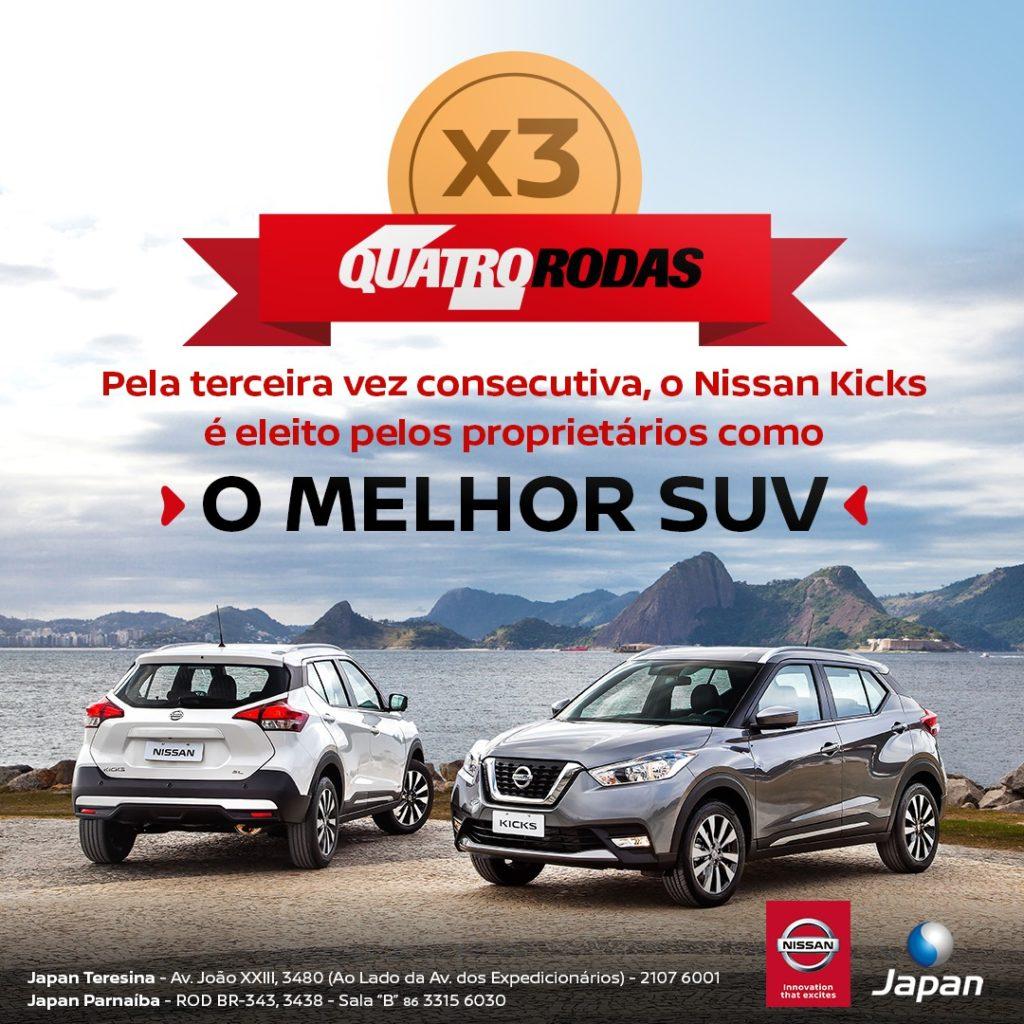 Nissan Kicks é eleito pela terceira vez consecutiva por seus donos como o melhor SUV