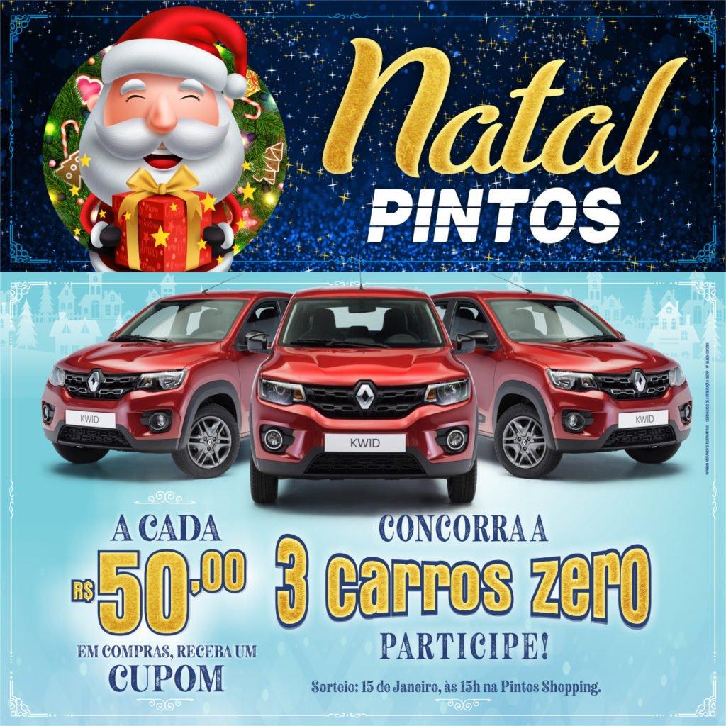 Campanha Natal Pintos fará sorteio de 3 unidades do Renault Kwid, o SUV dos compactos!