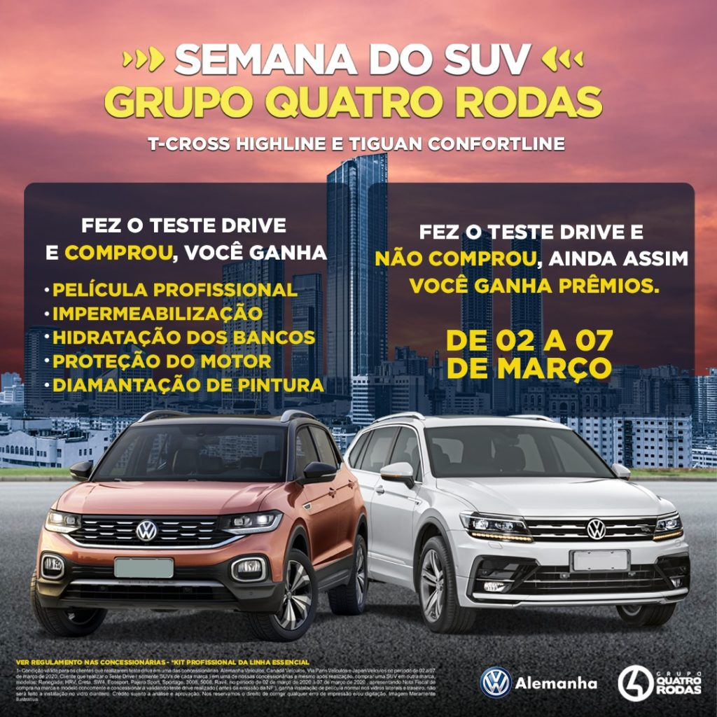 Semana do SUV no Grupo 4 Rodas: faça seu test drive e receba prêmios!!