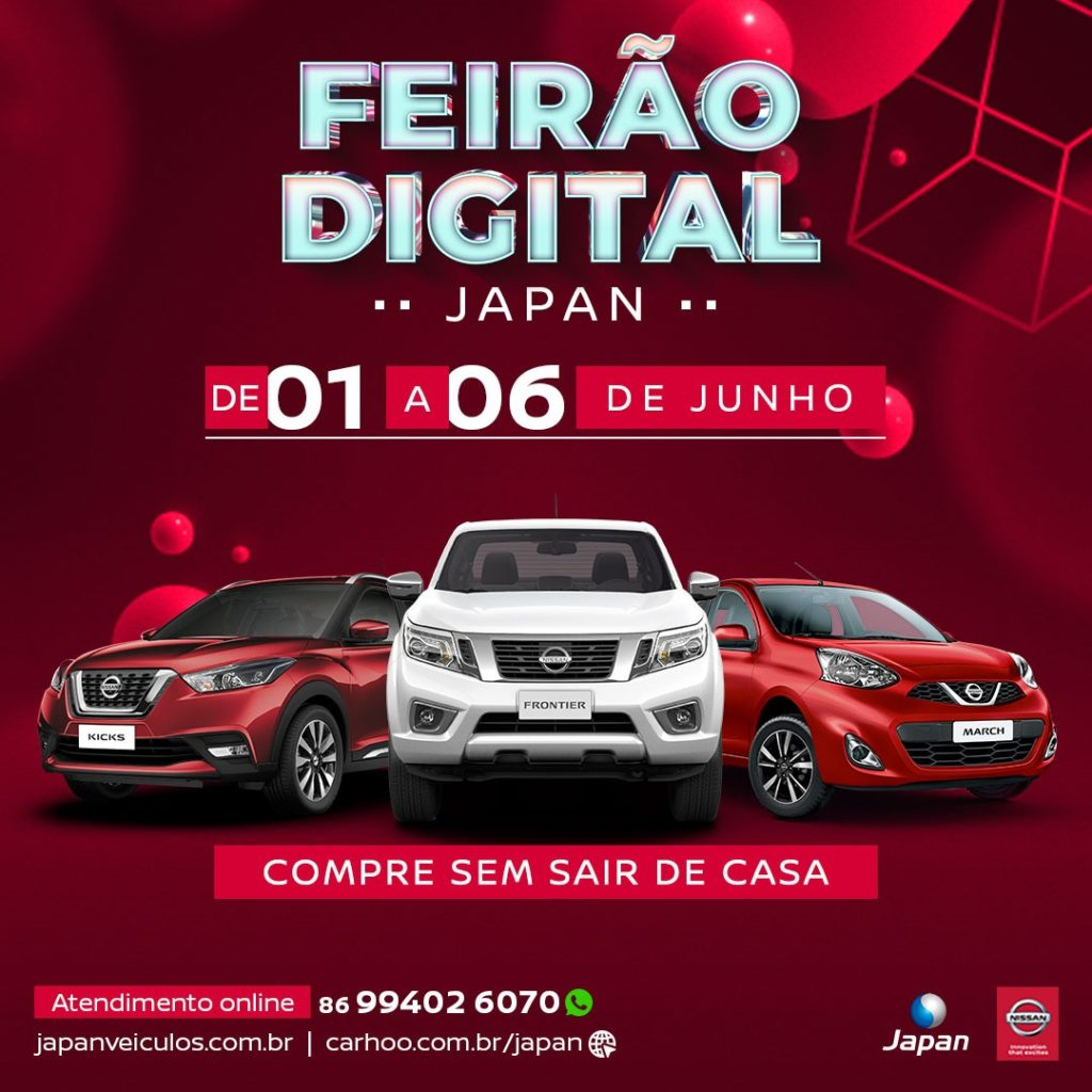 Feirão Digital Japan: compre seu Nissan em casa com condições imperdíveis!