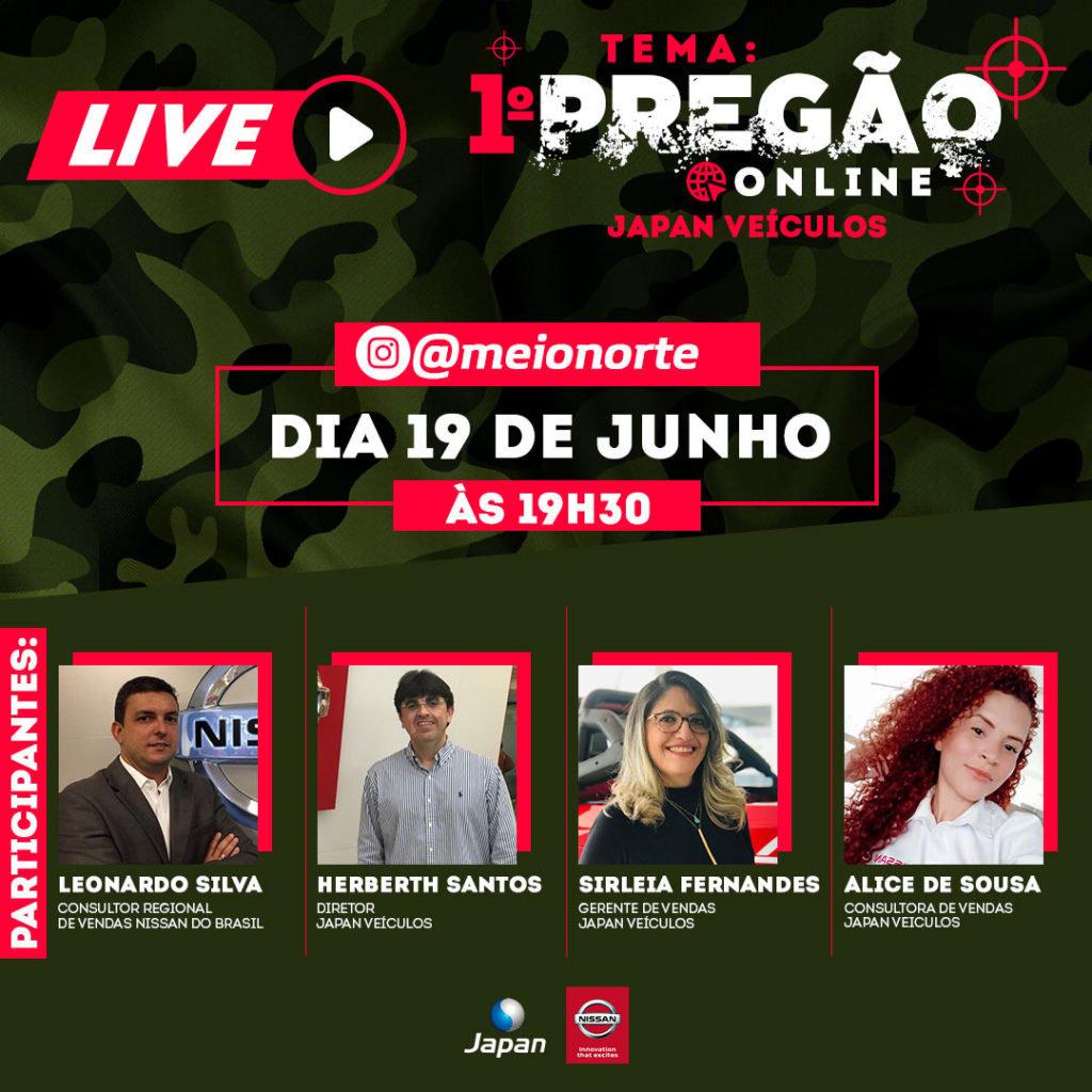 Hoje às 19h30: acompanhe a Live da Japan Veículos sobre o 1º Pregão Online Nissan