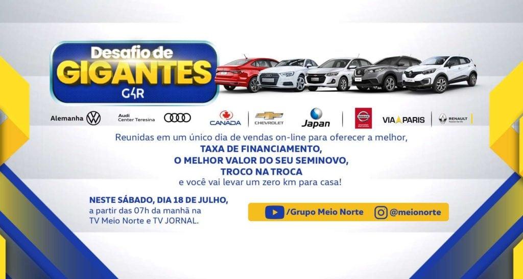Desafio de Gigantes: só neste sábado, uma força-tarefa pra você adquirir seu carro 0km online!