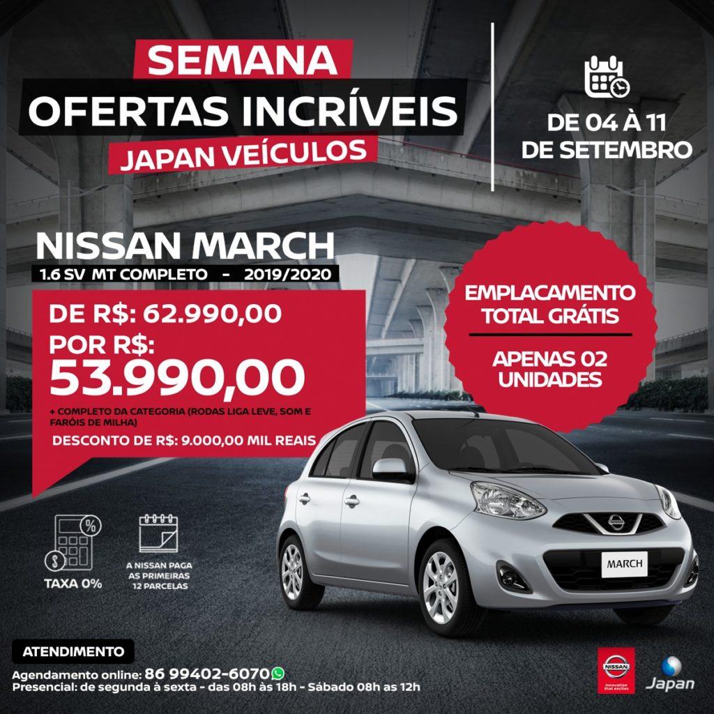 Semana Ofertas Incríveis na Japan Veículos: garanta seu Nissan March com até R$ 10.000,00 de desconto!!