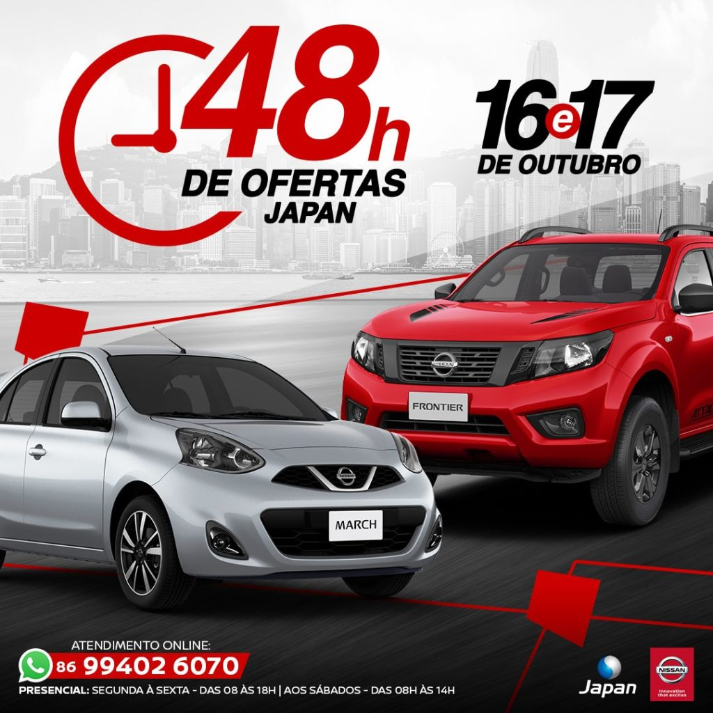 48 Horas de Ofertas Japan: hoje e amanhã, aproveite ofertas para toda linha Nissan!
