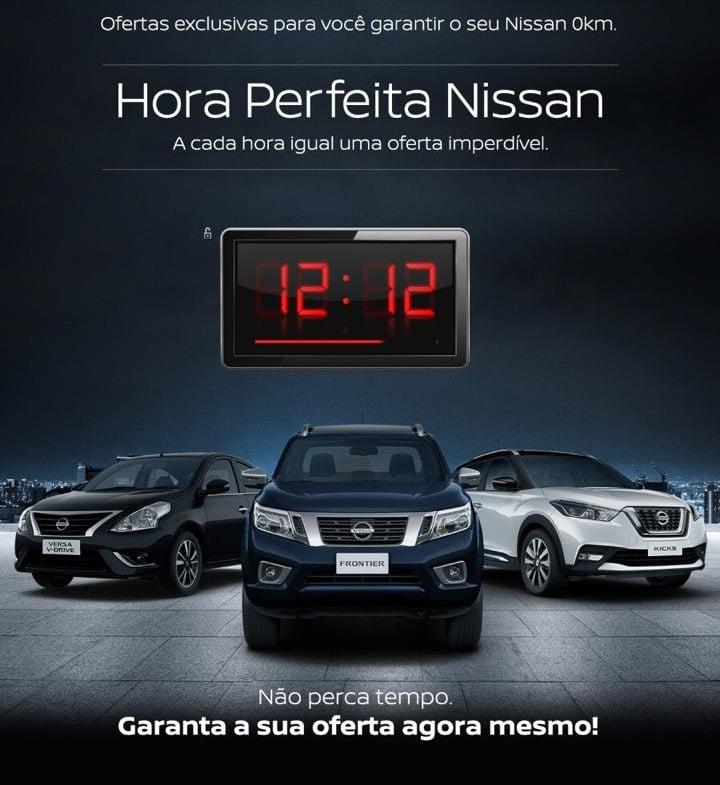 Só nesta sexta! Hora Perfeita Nissan: a cada hora e minutos iguais, uma oferta imperdível!