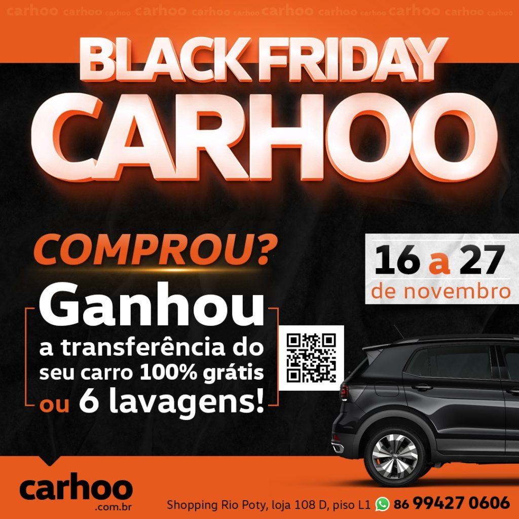 Black Friday Carhoo: compre e ganhe transferência grátis ou 6 lavagens na faixa!