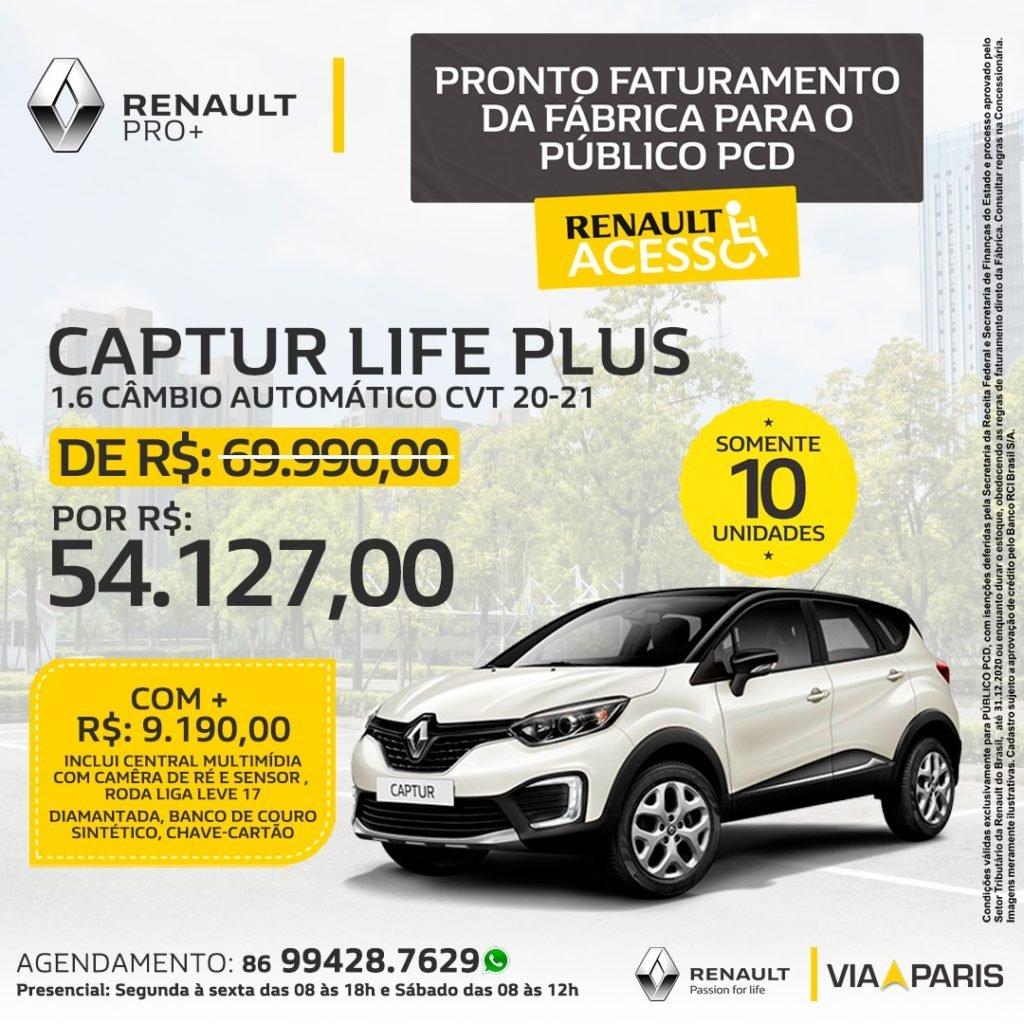 Aproveite! Lote exclusivo de Renault Captur com descontão para PCD, só na Via Paris!