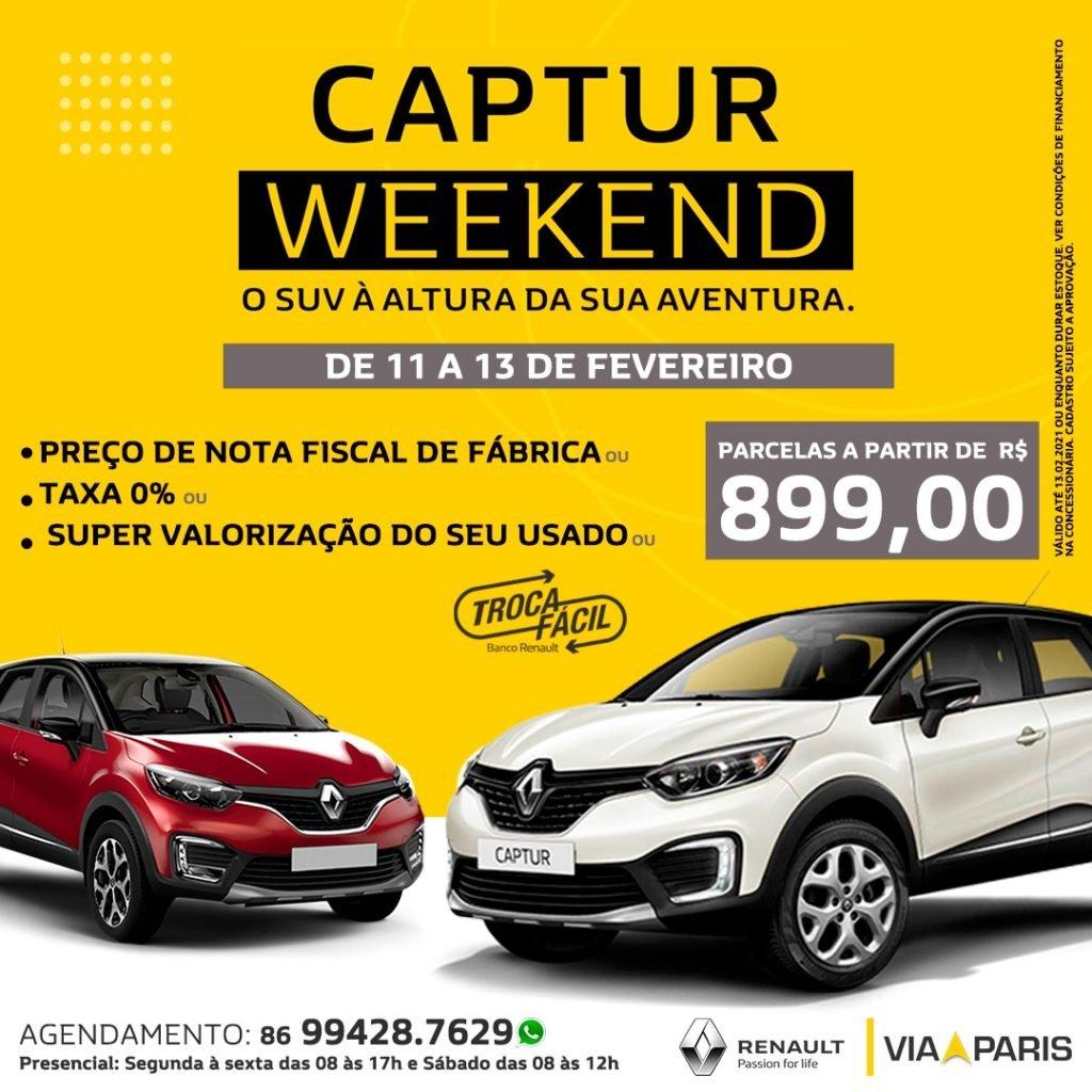 Captur Weekend: só neste fim de semana, garanta o SUV da Renault com condições incríveis!
