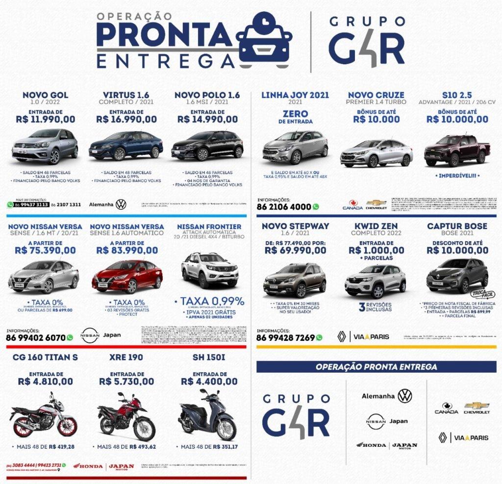 Operação Pronta Entrega do Grupo G4R: garanta seu carro ou moto com descontos, taxa 0% e sem demora!