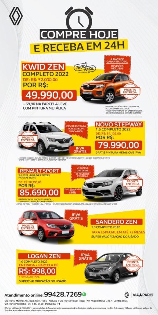 Compre seu Renault com condições facilitadas e receba em 24 horas!
