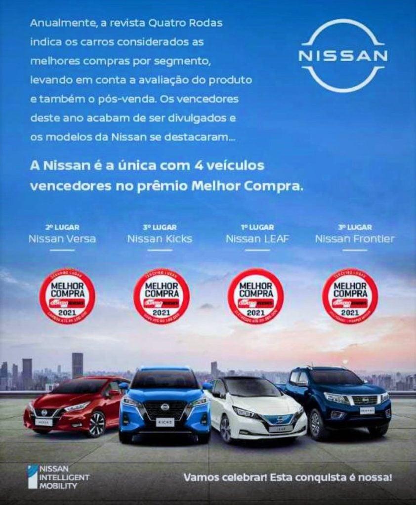 Quatro modelos da Nissan são indicados como as Melhores Compras do Brasil